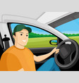 driver sits in the car vector image