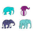 elephant icon set color outline style vector image
