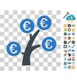 euro money tree icon with bonus vector image vector image