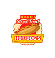 fast food hot dog sandwich icon vector image vector image
