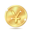 golden coin with yuan sign vector image