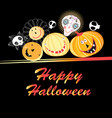 halloween greeting card with funny pumpkins and vector image vector image