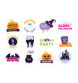 halloween logo trick or treat labels and sticker vector image vector image