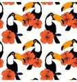 Hand drawn seamless pattern with toucans in vector image vector image