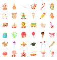 happy birthday icons set cartoon style vector image vector image