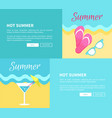 hot summer web posters set with martini glasses vector image
