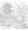 Japanese or chinese pagoda adult coloring page