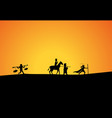 journey to west in silhouette art vector image vector image
