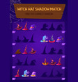kids game witch hat shadow match logic activity vector image