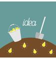 Lamp bulb underground Shovel and bucket Dig idea vector image