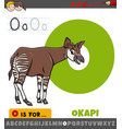 letter o from alphabet with okapi animal character