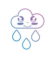 line kawaii cute happy cloud raining vector image