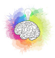 linear of human brain with light bul vector image vector image