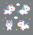 little unicorns in modern flat style on gray vector image vector image