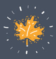 maple leaf on dark background vector image vector image