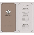 menu for a cafe vector image vector image