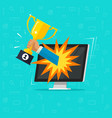 online award goal achievement flat cartoon vector image