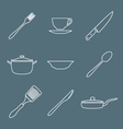 outline dinnerwarwe icons set vector image vector image