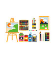 painter icons set painting art tools and vector image vector image