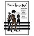 party invitations with fashion woman in sketch vector image