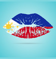 philippines flag lipstick on the lips isolated on vector image