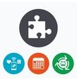 Puzzle piece sign icon Strategy symbol vector image vector image
