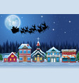 santa claus riding his reindeer sleigh flying in t vector image vector image
