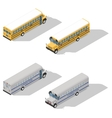 School and prison buses isometric icon set vector image