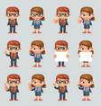 schoolgirl schoolboy education excellent student vector image vector image