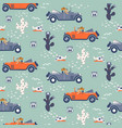 seamless pattern with dogs on cars in vector image vector image