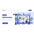 seo optimization flat landing page template vector image vector image