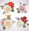 set bouquets roses watercolor can be used as vector image