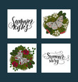 set of summer tropical postcards with detailed vector image