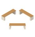 set of wooden benchesisolated to construct garden vector image vector image