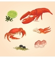 Set sea food crab and crawfish vector image vector image