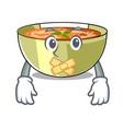 silent lentil soup on a cartoon plate vector image vector image