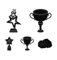 silver cup for the second place gold stars on the vector image