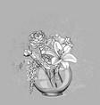 sketch flower background card vase glass vector image