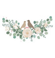 spring roses and eucalyptus branches bouquet with vector image