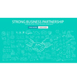 Strong Business Partnership concept wih Doodle vector image vector image
