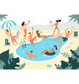 swimming pool party summer outdoors people vector image