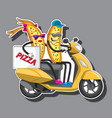 two characters pizza man and woman on a vector image vector image