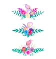 watercolor flowers and leaves collection vector image vector image