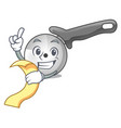 with menu pizza cutter cartoon in the kitchen vector image
