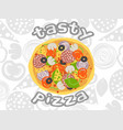 pizza top view on white ingredients background vector image