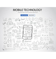 Mobile technology concept with Doodle design style vector image