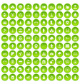 100 kindergarten icons set green circle vector image vector image
