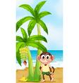 A smiling monkey at the beach near the banana vector image vector image