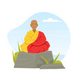 bald buddhist sitting on stone and meditating in vector image vector image