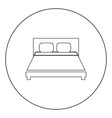 bed icon black color in circle or round vector image